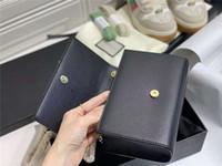 Neue klassische schwarze goldketten umhängetaschen mit box caviar echte leder kreuz body taschen verbesserte Version 3 Buchstaben Baguette Kate 24cm Geldbörse
