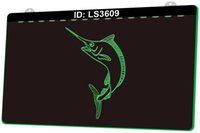 LS3609 G Fisch 3D-Gravur-LED-Lichtzeichen 9 Farben Großhandel Einzelhandel Freies Design