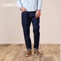 Jeans masculinos simwood 2021 primavera relaxar em linha reta selvage denim homens de alta qualidade 100% algodão jean plus size marca roupas sk1301361
