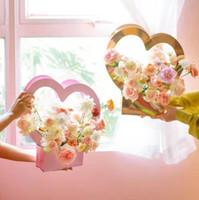 باليد القائم باليد زهرة مربع على شكل قلب زهرة حزمة مربع الطازجة الحب زهرة سلة المحمولة ورقة الزهور حقيبة التعبئة والتغليف