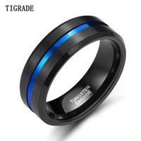 TIGRADE 8mm hombres negro tungsteno anillo de carburo línea azul azul banda vintage hombres joyería anime anel masculino anónizado tamaño 6-15 201026