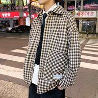 Мужские куртки Уюк зима повседневная свободная мода Trend отворотный однорядный пряжкой шерстяной материал толстая клетчатая рубашка куртка