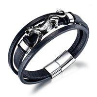 Bracelets Charm Europe и Соединенные Штаты Титановый сталь Мужской многослойный кожаный браслет ретро из нержавеющей леопардовой кожи Rebal1