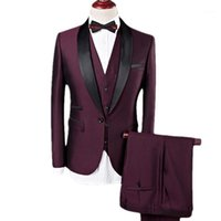 Trajes para hombres blazers yffushi hombres traje de 3 piezas vino rojo chal shawl sapel tuxedo novios boda para negocios casual masculino blazer1