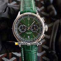 Nuevo Premier B01 Funda de acero AB0118A11L1X1 VK CRONOGRAFIO DE CUTIMOGRAMA DE CUTIMOGRAMA DE HOMBRE DE RELOJ DE MEÑOS GREEN Dial Verde Correa de cuero Verde relojes HELLO_WATCH HWBR