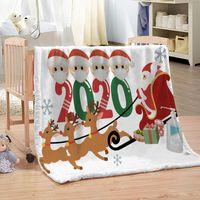عيد الميلاد قناع الوباء الناجون غطت بطانية الفانيلا بطانية قيلولة تكييف الهواء قيلولة عيد الميلاد الديكور مخصص بالجملة 102x127 سنتيمتر
