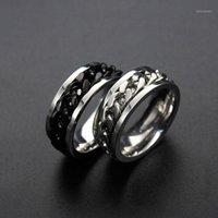 Anneaux de cluster 8mm Rotables Noir Or Silver Couleur 316L En acier inoxydable Cocktail Engagement Chaîne des doigts pour femme homme bijoux1