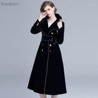 여성 양모 혼합 겨울 영국 스타일 여성 코트 블랙 벨벳 두꺼운 따뜻한 긴 우아한 빈티지 여성 드레스 코트 Vestido1