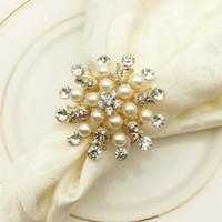Anneaux de serviettes Porte-serviettes Perle Perle Porte-serviettes pour la soirée de mariée de Noël Fête de mariage Home Cuisine Table de salle à manger Accessoires de linge