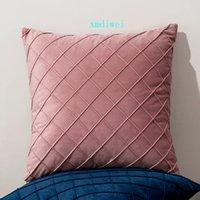 Pillowcase de cor sólida simples nórdica espessada holandesa holandês mão tecida knotted almofada caso 3d diamante gird rosa travesseiro