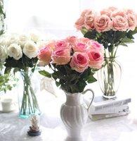 Фланнелет искусственный розовый шелковый цветок поддельных роз длинные стволовые свадебные свадьбы букет для дома сад свадьба искусственные цветы Kka8319