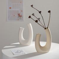 Nordico Vaso di fiori secchi in ceramica bianca Vaso di ceramica decorazione della casa Disposizione dei fiori Hydroponic Home Cafe Studio Decor