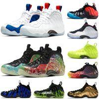 Пена One Pro Хардуэй обувь AirFoamposite Black Aurora Volt Разрушенные Mens Баскетбол обувь кроссовки Спортивные тренажеры Размер США 13