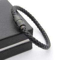Luxus schwarz gewebte Lederarmbänder magnetische SCHLATTE MIT SIX Star Branding French Man Schmuck Charm Armband als Weihnachtsgeschenke