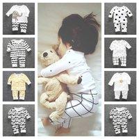 Bambini Autum Inverno Pigiama Set Ins Ins Bambini Boy Girls Toddler Homewear manica lunga a due pezzi Abbigliamento T-shirt T-shirt T-shirt Pantaloni G12802