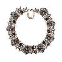 Kedjor lyx kristall rhinestone stor krage chokers halsband kvinnor bröllop mode smycken uttalande stor bib choker halsband