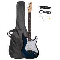 الغيتار الكهربائي الأزرق مع حقيبة حالة كابل حزام يختار روزوود الأصابع للمبتدئين السفينة من الولايات المتحدة الأمريكية