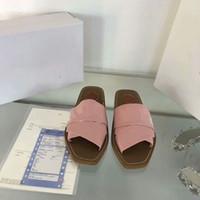 최신 브랜드 여성 Woody mules fflat slipper deisgner 레이디 레터링 패브릭 야외 가죽 솔 슬라이드 샌들 022