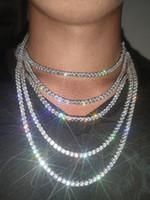 Ледяная сеть теннисная цепь хип-хоп блен ювелирные изделия мужское ожерелье серебряное золото алмазные ожерелья 3 мм 4 мм 5 мм 6 мм