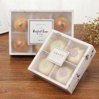 뜨거운 판매 100pcs / lot 투명 젖빛 케이크 상자 디저트 마카롱 Mooncakes 상자 과자 포장 상자 DDE3112