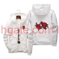 Розовый куртка Ветровка Мужчины и женская куртка Новая мода Белые и черные розы.