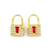 Neue Gold Chunky Ohrringe Micro Pave CZ Unregelmäßige Schleife Schloss Form Herz Charme Kleine Reifen Ohrringe Für Frauen Weibliche Schmuck