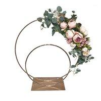 60 سنتيمتر جولة المعادن الزفاف القوس الزهور بالون القوس كيت الزفاف خلفية حامل الجدول المركزية الديكور للحزب 1