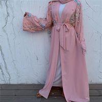 Kimono Dubai Abayas pour femmes Musulman Hijab robe Floral Turc Robe Femme Kaftan Caftan Marocain Prière Vêtements islamiques1