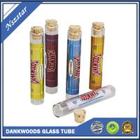 Dankwoods Bottiglie di vetro Contenitore vuoto 120 * 21mm e sigaretta sughero per legno per carrelli VAPE PRE ROLL confezione adesivi tubo vapor