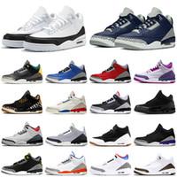 2021 Unc Black Cimento Branco Jumpman 3 3s Mens Basquetebol Sapatos Fragmento Flight Knicks Fogo Vermelho Bio Bege Homens Treinadores Sapatos Esportivos