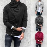 2021 رجل بلون اللون zip up هوديي الشتاء الكلاسيكي مقنع البلوز سستة الصوف سترة دافئة سترة معطف أعلى الخريف