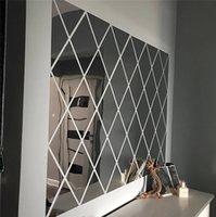 17 / 32 / 58PCS DIY 3D 거울 벽 스티커 다이아몬드 삼각형 아크릴 벽 거울 스티커 어린이 방 거실 홈 장식