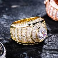 الرجال خواتم الذهب العصرية أزياء الذهب والفضة اللون حلقات العنقودية الفاخرة بلينغ الزركون كبيرة الحجم الهيب هوب خواتم مجوهرات هدية