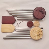 나무 금속 바람 차임 작은 6 튜브 발코니 걸이 문 장식 단계 및 단계 높은 상승 Aeolian 종 FF496