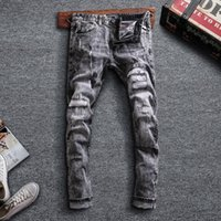 Newly Designer Fashion Men Jeans Retro Gray Slim Fit Ripped ...