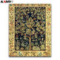 Pinturas 5d DIY Diamond Pintura cruzada Punto de cruz árbol Bordado completo Bordado Lucky Planta Mosaico Flores de oro #