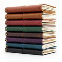 Notepads 100٪ جلد طبيعي المسافر دفتر السفر يوميات مجلة خمر اليدوية جلد البقر هدية المسافر