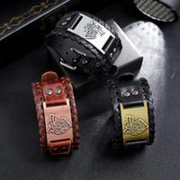 Charme Armbänder Anomokay Vintage Handarbeit Kuh Lederband Armband Punk Style Wolf Head Cowhide Bracelt Für Männer