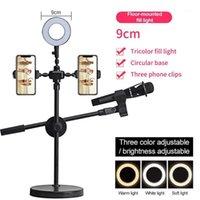 Telefone Live Bracket Light Set Multi-câmera Selfie Fotografia LED Lâmpada de Beleza Lâmpada de Beleza Do Teto Titular Titular Wich Mic Holde1