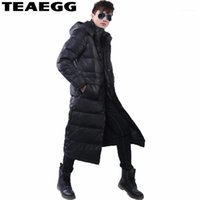 Teaegg Uzun 90% Beyaz Ördek Aşağı Siyah Erkekler Aşağı Ceket Erkekler Kış 2017 Kalın Hood Kış Ceket Rahat Sıcak Parka Coat AL1131
