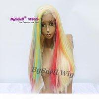 Coiffure de couleur branchée Perruque synthétique longue droite Blonde Strirt Sighbow Color Color Cheveux Dentelle Perruques femelles pour femmes noires