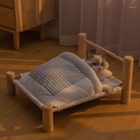 Animal de estimação espreguiçadeira para gato cama removível saco de dormir hammock inverno de madeira gatinho morno gatinho casa animais de estimação cães pequenos cães sofá esteira supli1