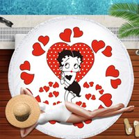 Betty Boop جولة منشفة الشاطئ للبالغين جميل ستوكات منشفة الحمام السباحة المناشف شرابات نسيج بطانية اليوغا شاطئ حصيرة F1216