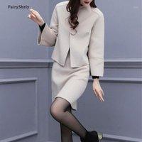 Сказливый корейский повседневный офис женские рабочие юбки урожай костюм женские 2020 осень зима кармана шерстяная джеквенная юбка 2 частей набор