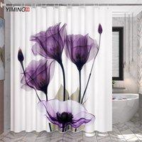 Yiming 3D Print красивая цветочная ванная комната водонепроницаемая душевая занавеска из полиэстера украшения для унитаза водонепроницаемый занавес 200 * 180см 201029