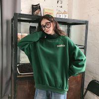Melife Winter Warm Green Silk Sudadera para mujer de manga larga Sudaderas suaves Puras Moda Coreana Terciopelo suelto Tops de la ropa