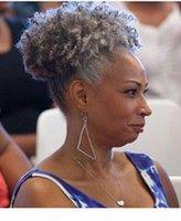 Cabelo cinzento Kinky Culry Rabo de Cabelo Extensão Real Brasileiro Virgem Virgem Cabo De Cabelo Afro Drawstring Ponytails Cinza 100G-120G