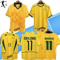 1994 1998 BRAZI L HOME SOCCER JERSEYS 02 04 BRASI RETRO CLASSIC CHEMISES Carlos Romario Ronaldin Ronaldinho R. Carlos Jersey Camisa de Futebol