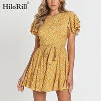 Hilorill Mujeres O cuello Impresión floral Mini vestido 2020 Mensajes cortos de verano Boho Vestidos de vacaciones Ruffles Casual Vendaje Vestido Robe B1202
