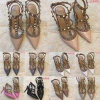 2020 여성 펌프 웨딩 신발 여성 하이힐 샌들 누드 패션 발목 스트랩 리벳 신발 섹시한 하이힐 신부 신발 35-45